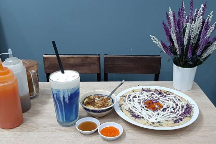 Blue Bean Milk Tea, Grilled Rice Cake