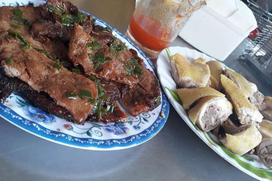Baked ribs,  Boiled chicken