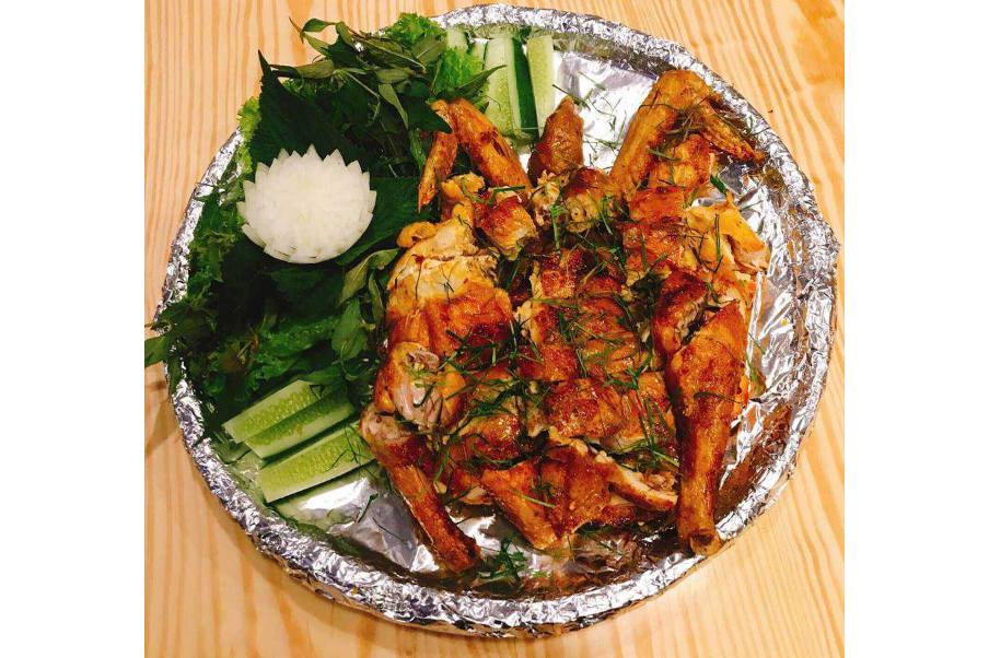 Roasted Chicken with Lemon Leaves