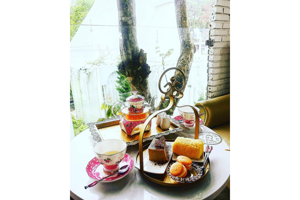 Assorted Pastries And Rose Tea