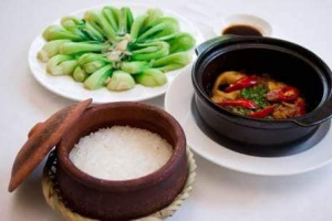 Rice Nieu, Boiled Vegetables, Fish Warehouse