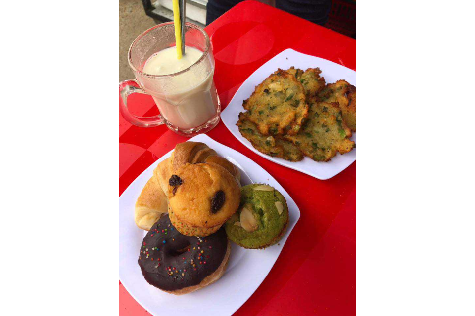 Soy Milk, Pastry, Fried Corn Cake
