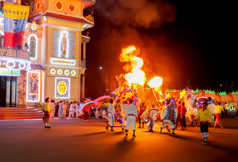 The Great Feast of the Blessed One at the Cao Dai Temple in Tay Ninh